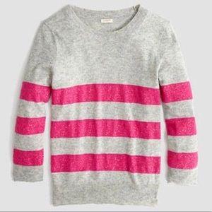 J. Crew Sequin Stripe Sweater Gray Pink Wool Blend